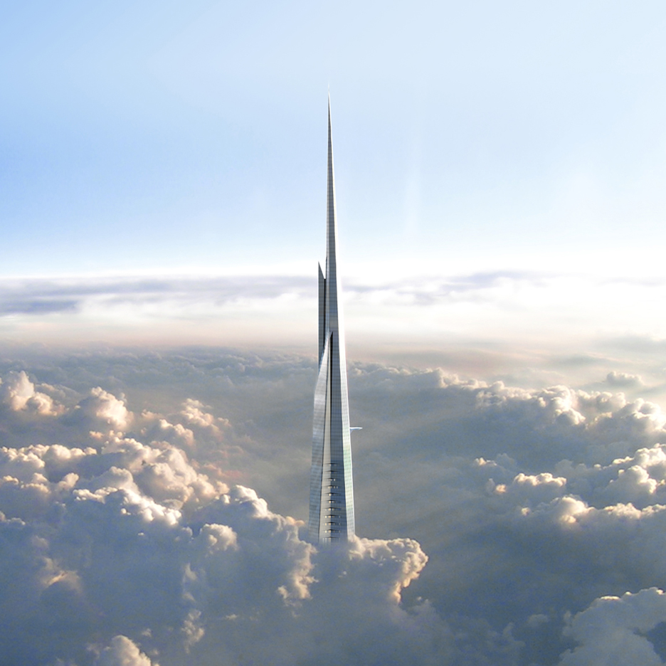 A computer generated model of Jeddah Tower penetrating the clouds