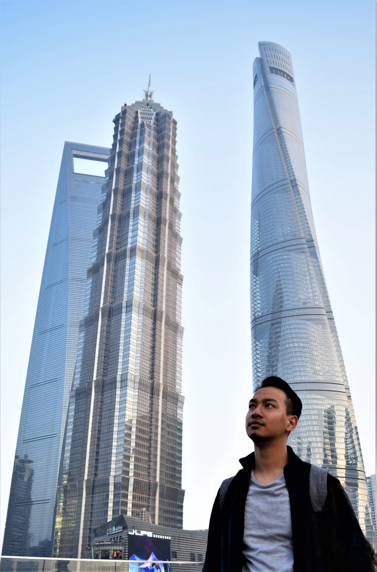Me in front of the Lujiazui skyline