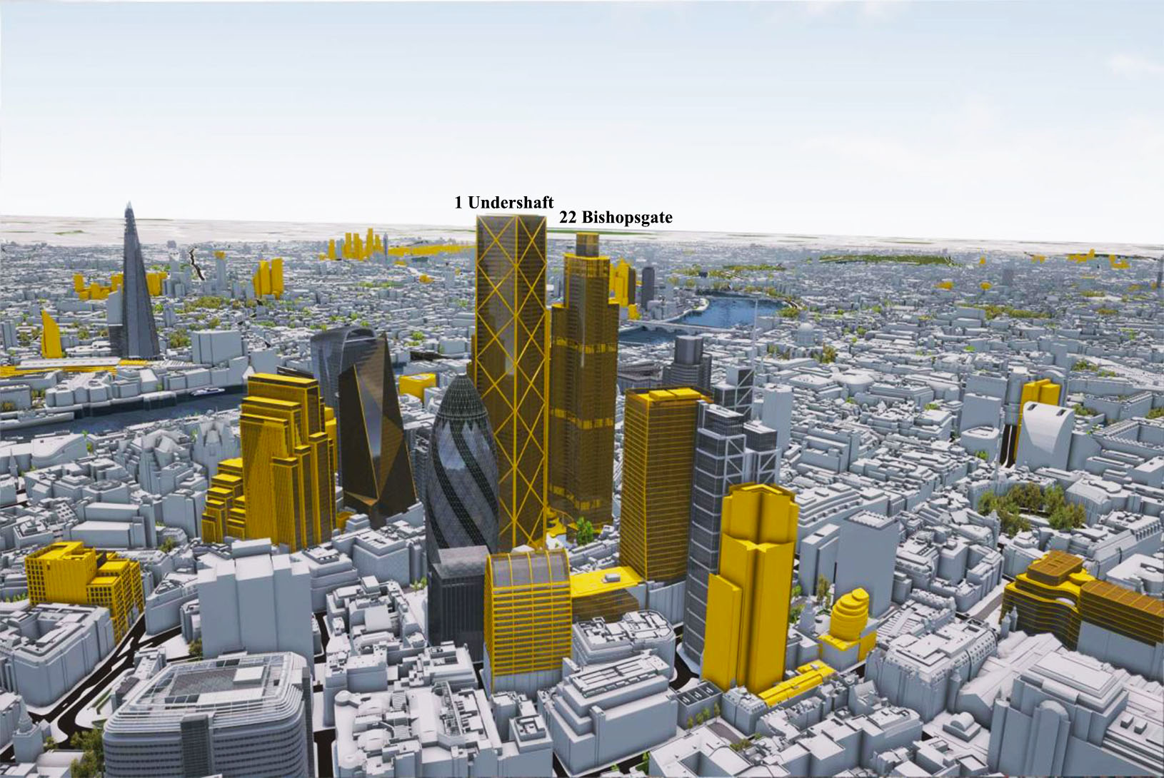Computer generated model of London through VU.CITY