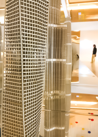 Cayan Tower model at the SOM exhibition