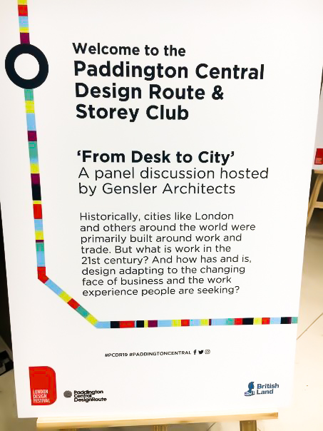 'From Desk to City' information sign