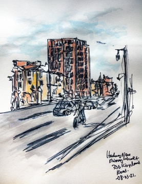 Sketch of the tower by Kingsland Road